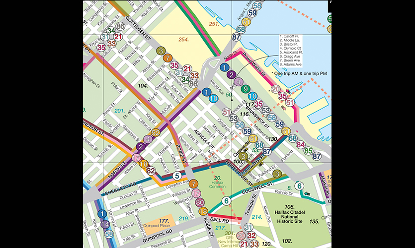 Map Halifax Transit Bus Map And Street Signage Redesign Mic E Jospe Nscad University