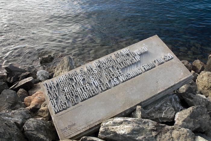 One of 15 concrete text sculptures Wellington Writers Walk, New Zealand, 2002 — 2004