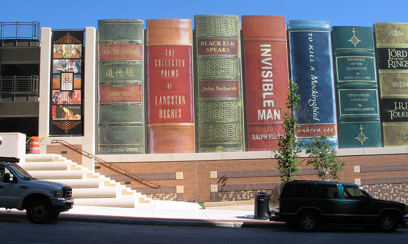 Image result for kansas city library book wall