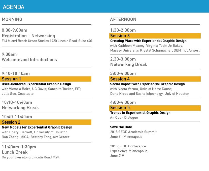 2017 SEGD Academic Summit Miami Agenda