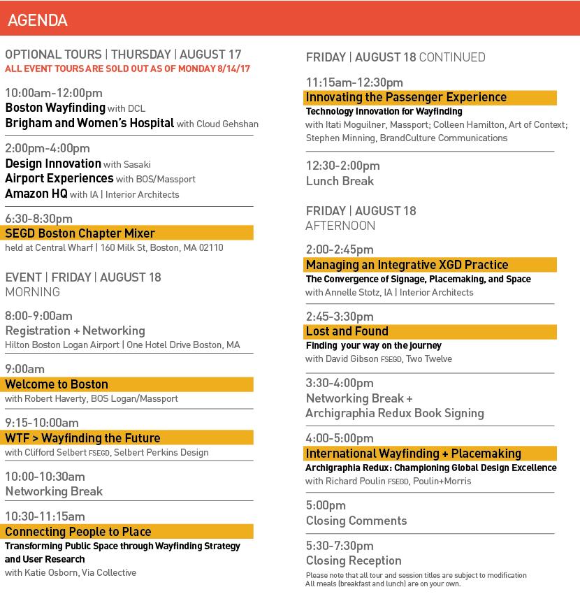 2017 Wayfinding Agenda as of 8/14