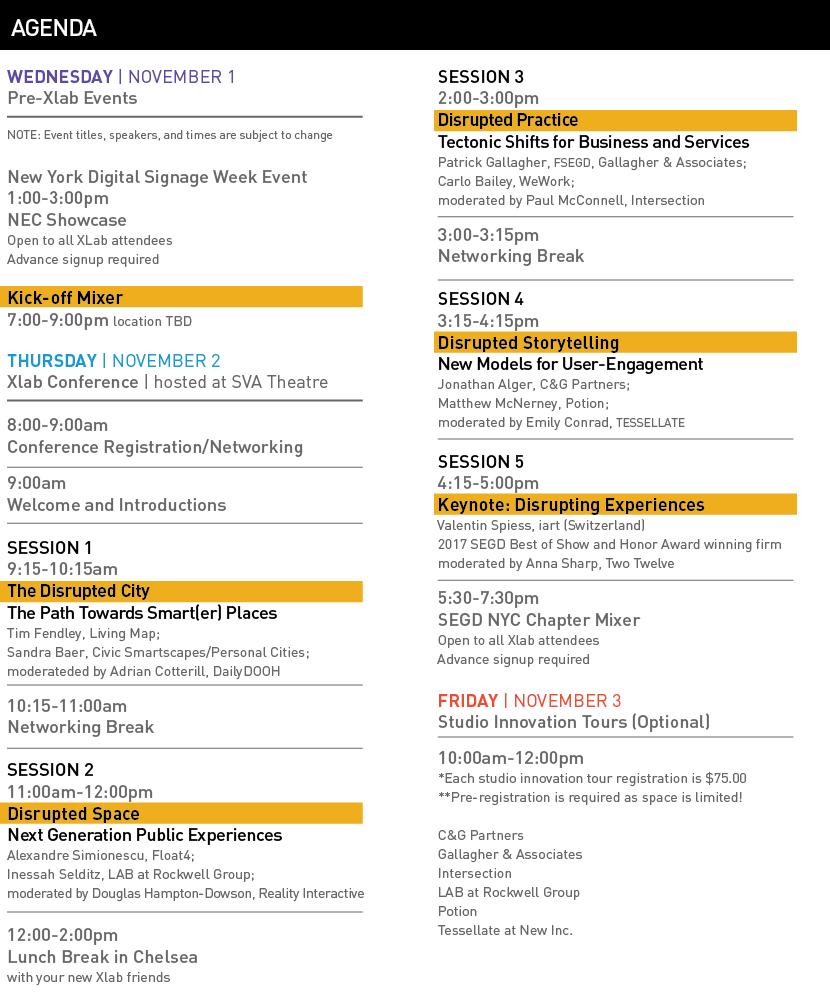 SEGD XLab agenda 8/31