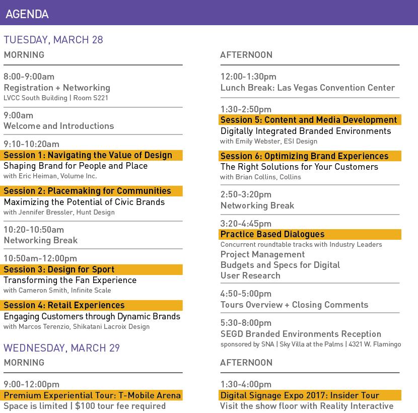 SEGD Branded Environments Agenda 3/20