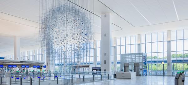 Sarah Sze Installation at LaGuardia Airport, Photo credit: LaGuardia Gateway Partners