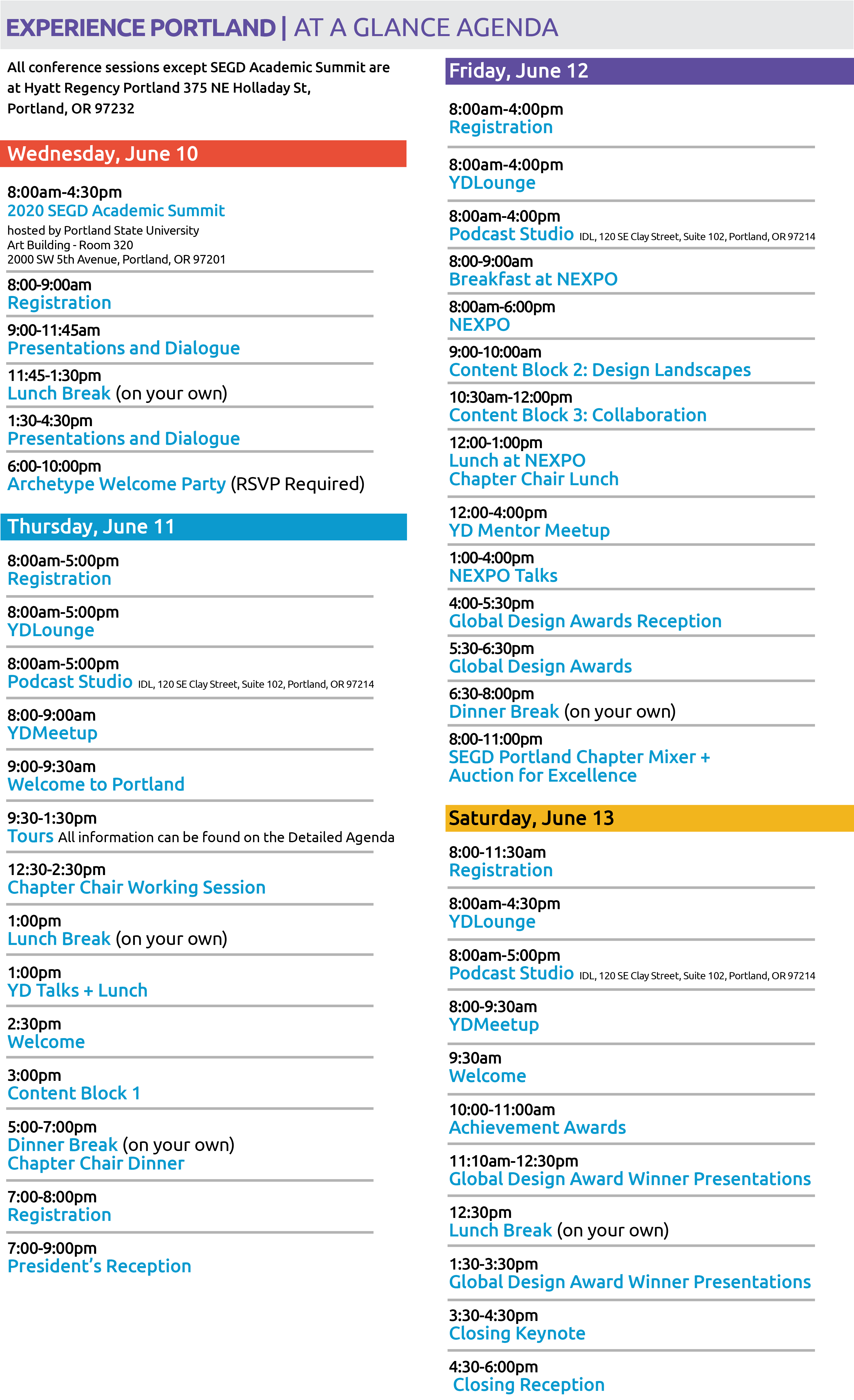 2020 Conference Experience Portland At A Glance Agenda