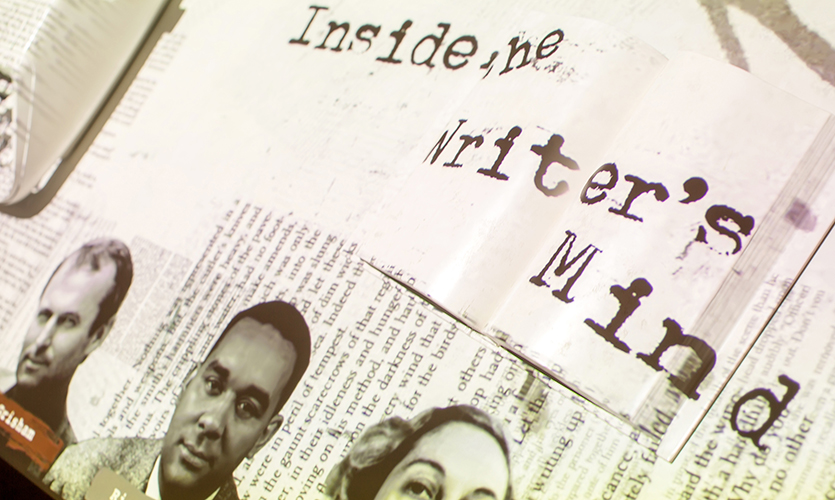 An attract screen introduces each of the three writers whose stories will be explored. (image: detail of type-written graphic)