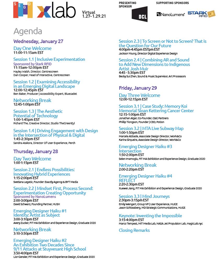 2021 Xlab Agenda
