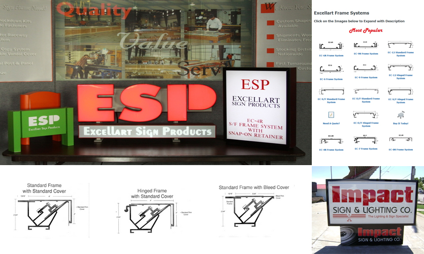 ESP, Aluminum Signage Frame Systems Collage