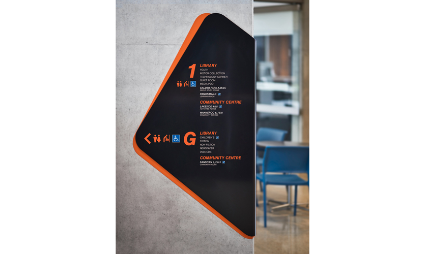 Other important considerations were the visibility of amenities and community spaces from the library itself, and the mandate for the library information/checkout desk to be mobile. (image: directory signage)