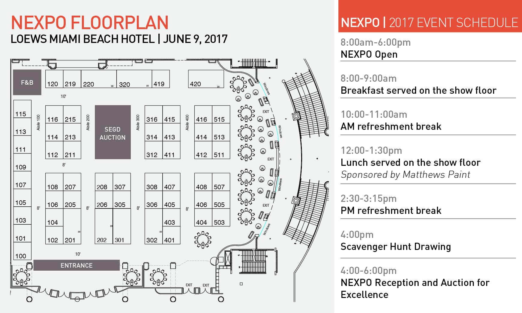 2017 NEXPO Floorplan and list of events
