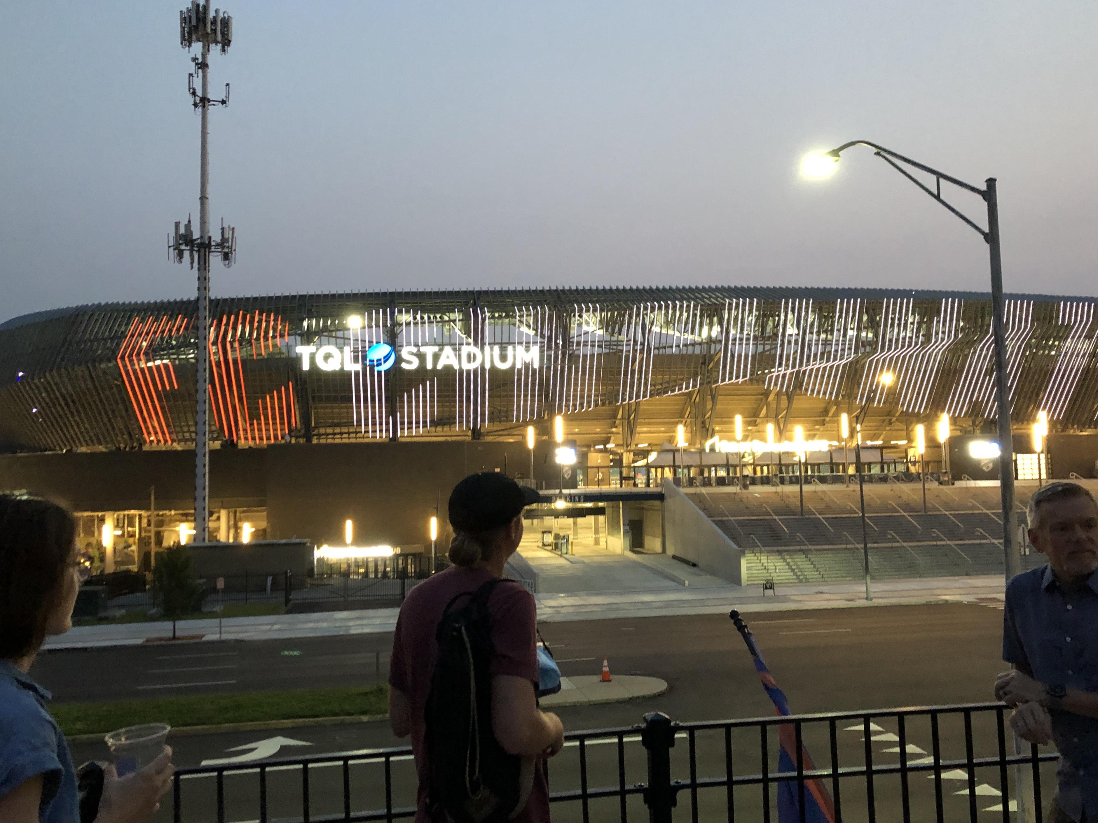 The LED fins of TQL Stadium seen at night.