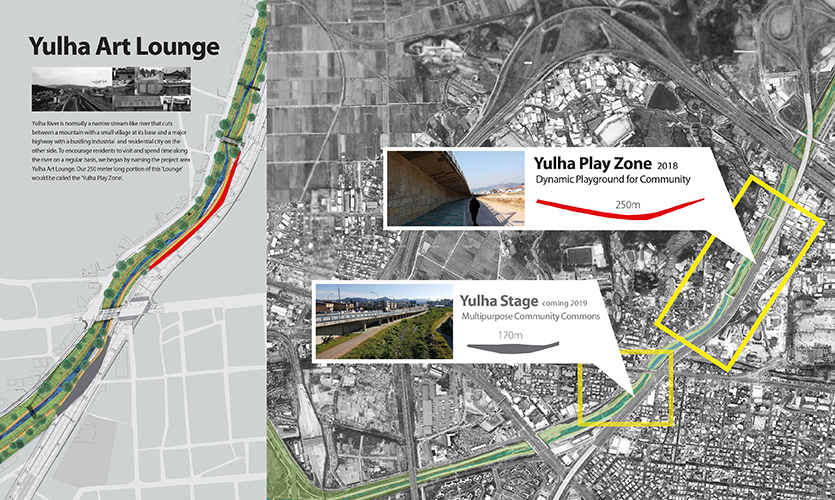 Yulha Art Lounge is community park creation project along the Yulha River in Dong-gu, Daegu, South Korea (image: map)