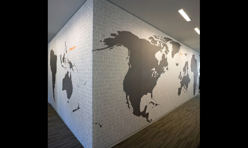 Us green building council headquarters segd three walls wrapping a copy room were used for a huge world map that illustrates usgbcs gumiabroncs Images
