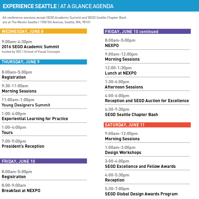 SEGD Conference Experience Seattle Agenda as of 5/20