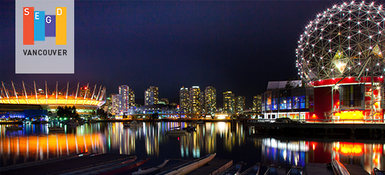 Night photo of Vancouver for the Vancouver SEGD Chapter Welcome