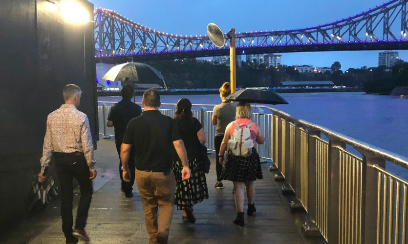 An intrepid group of 50 braved the rain in Brisbane.