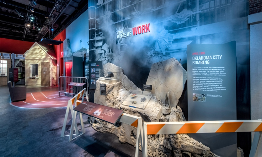 The emotional storytelling is a dramatic entry into the tradecraft of stealing secrets. (image: exhibit featuring the Oklahoma City bombing)