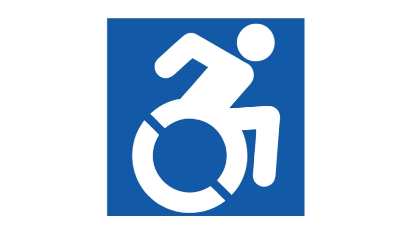 "01: The newly revamped logo design, known as the ""Accessible Icon,"" depicts an 'in-motion' visual of a person using a wheelchair."