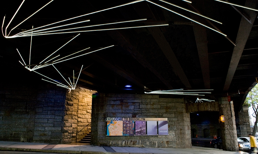 Fiberoptic LED Light Installation, Brooklyn Bridge Pedestrian Improvements, Dumbo Improvement District, emphasis design