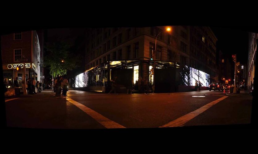 Street View of L-Shaped Display, Chanel Media Installation, Chanel, Apologue