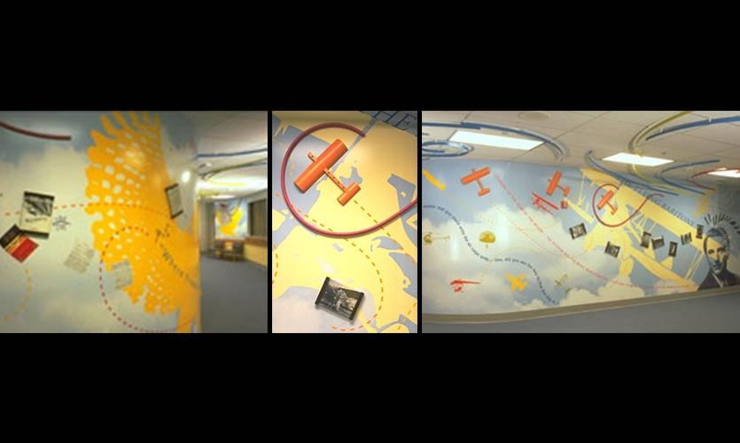 Transformed Elementary School Common Area, Flight of the Creative Spirit: Robert Crawford, State of Alaska Public Arts Program, Koryn Rolstad Studios