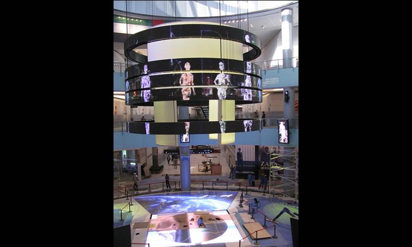 Catwalk Rings with video LEDs, Dubai Mall Catwalk, Emaar, Square Peg Design