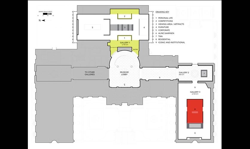Museum Schematic, Eero Saarinen: Shaping the Future, Museum of the City of New York, Cooper Joseph Studio