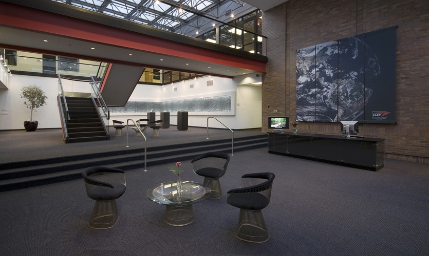Lobby, W.L. Gore Capabilities Center, Carbone Smolan Agency