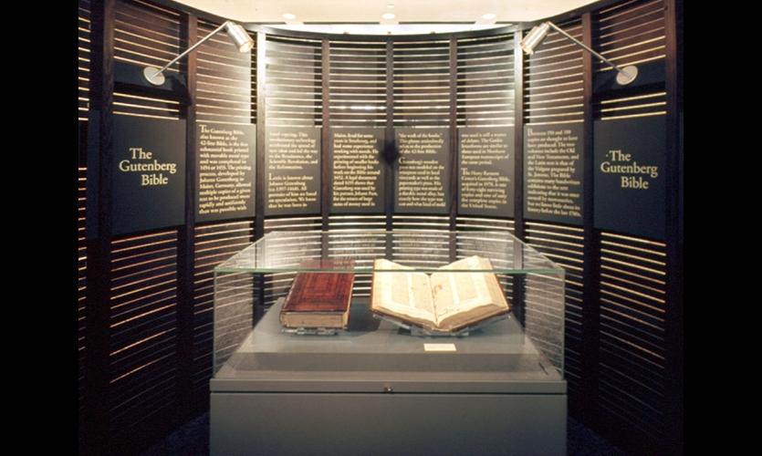 Display, Gutenberg Bible Case and First Photo Case, Harry Ransom Center, Pentagram