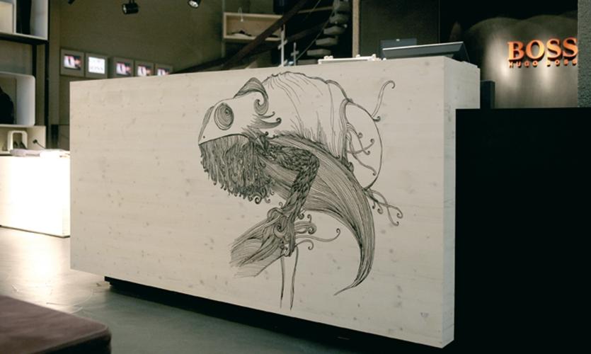 Wall Illustration, Hugo Boss Orange Concept Store, Hugo Boss AG, Projekttriangle Design Studio