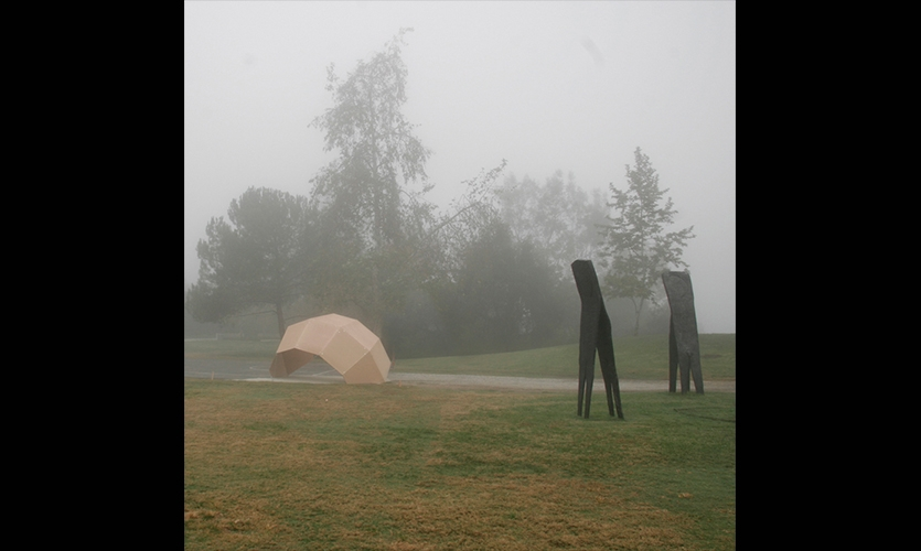 One Pavilion in a Foggy Field, Day Poem Pavilion, Art Center College of Design, Jiyeon Song