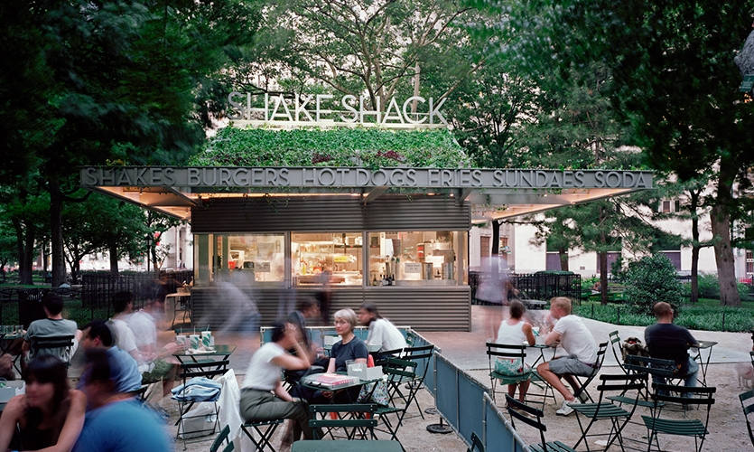 Exterior, Shake Shack, Madison Square Park Conservancy, Pentagram