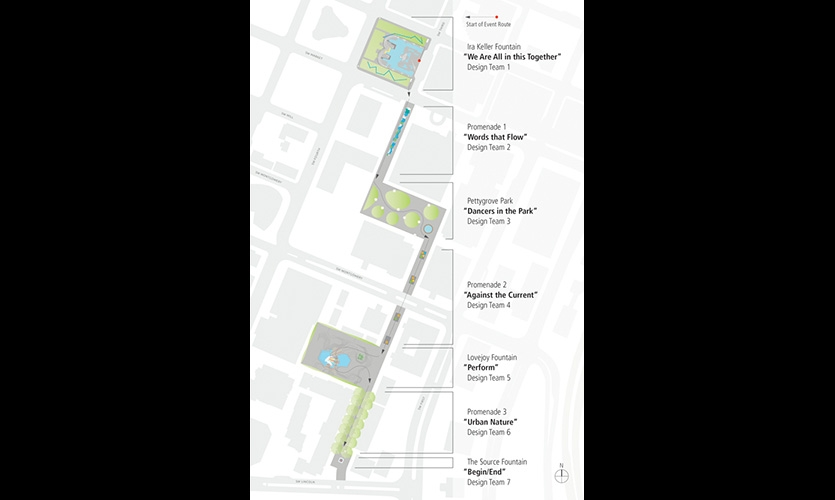 Site Map - Participants walk through seven temporary installations along the once revered Portland Open Space Sequence, designed by Lawrence Halprin in the late 1960's.