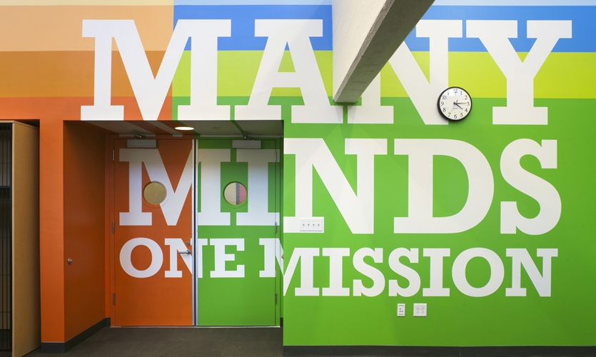 Wall Typography, Achievement First Endeavor Middle School, Achievement First, Pentagram