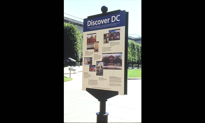 Discover DC Signage, D.C. Citywide Wayfinding Program, Downtown DC Business Improvement District, Calori & Vanden-Eynden