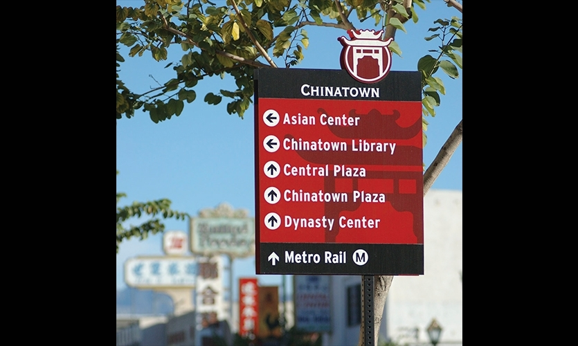 Downtown LA Walks leads a new generation of urban wayfinding systems that connect neighborhoods and actively encourage walking (2006, Hunt Design, Corbin Design).