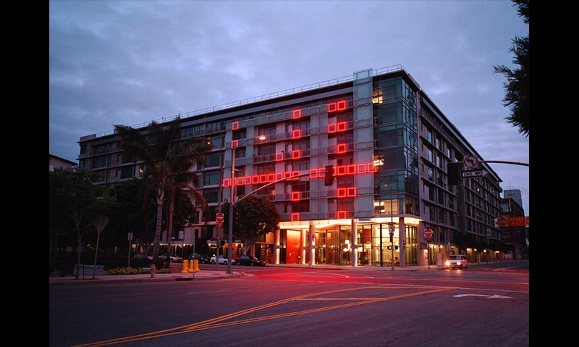 Building Façade, Enteractive at 11th and Flower, Forest City Residential West, Electroland