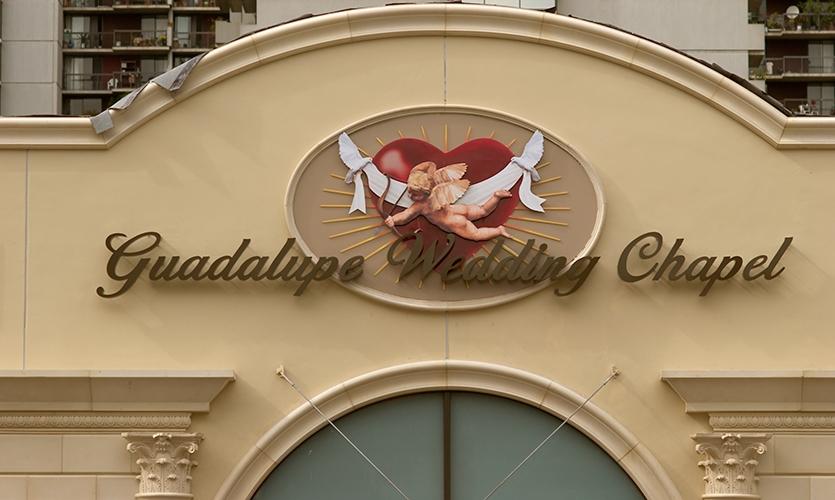 exterior signage guadalupe wedding chapel marie julliano morchon romero thorsen design