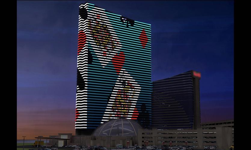 Cards Digital Display, Harrah's Resort Media Façade, Harrah's Resort Atlantic City, Tim Hunter Design