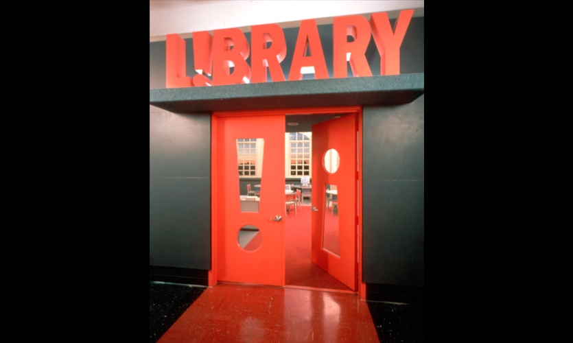 Door Signage, The L!BRARY Initiative, Robin Hood Foundation, Pentagram