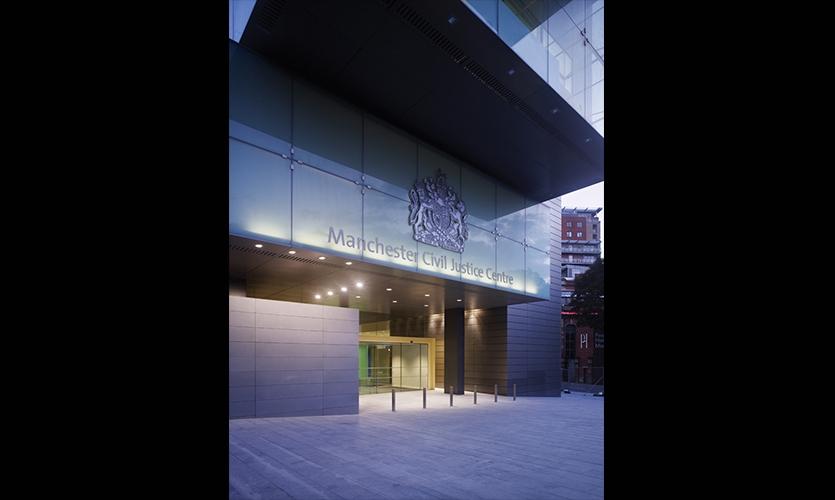 Entrance, Manchester Civil Justice Centre Signage, Emerystudio