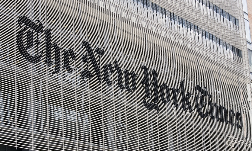 Logo on Building Face, The New York Times Building Façade, Forest City Ratner Companies, Pentagram