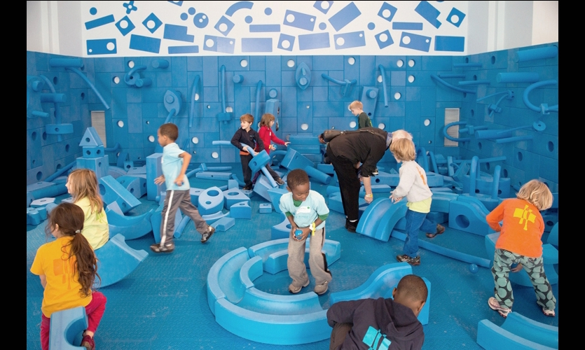 Children in playroom, Play Work Build, National Building Museum, Rockwell Group