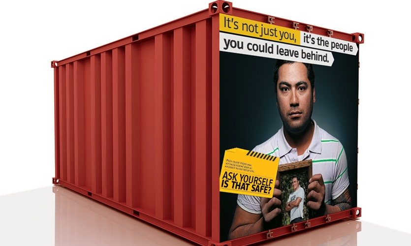 Safety Image on Large Container, Site Safety Installation, Fletcher Construction, Studio Alexander
