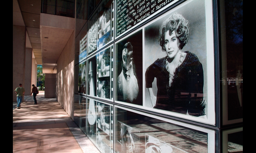 Renovation of the Harry Ransom Center at the University of Texas at Austin included two new glass-encased lobbies. Etched-glass panels designed by fd2s give passersby glimpses into the center's literary archive.