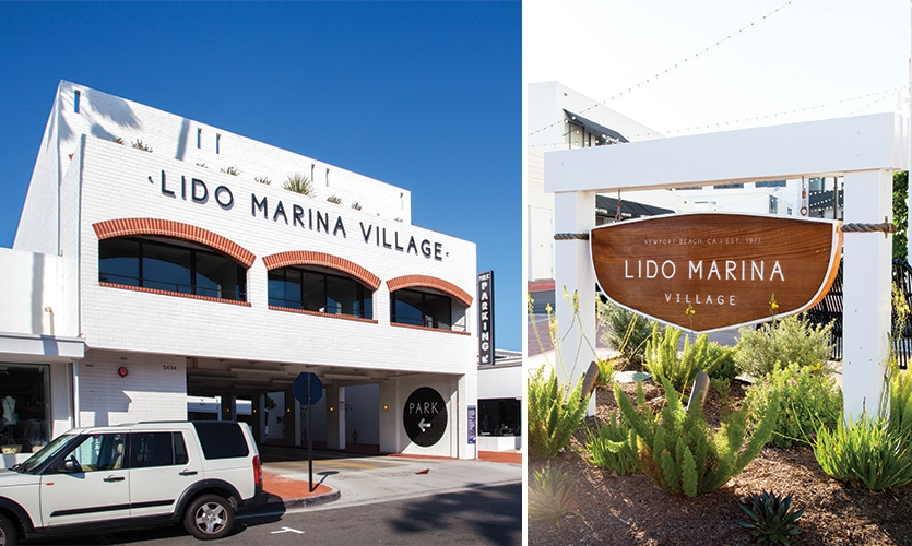 The material palette and shapes of the signage referenced classic Chris-Craft boats.