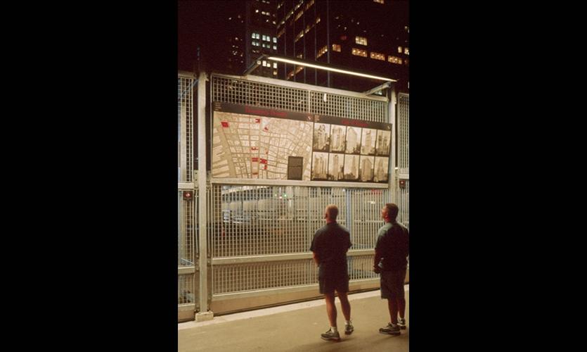 Visitors, Ground Zero Viewing Wall, Port Authority of New York & New Jersey, Pentagram