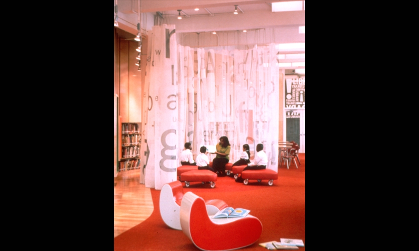 Sitting Area, The L!BRARY Initiative, Robin Hood Foundation, Pentagram