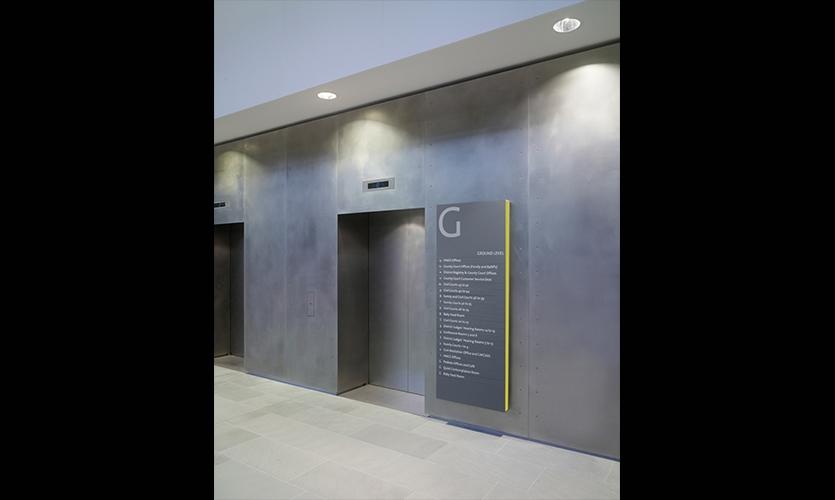 Elevator Signage, Manchester Civil Justice Centre Signage, Emerystudio