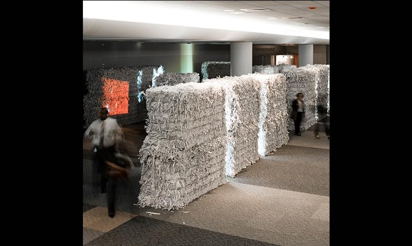 Paper Bales become Walls, NeoCon East Installation, Merchandise Mart, Gensler